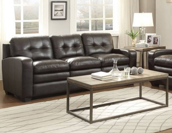 Urich Retro Chocolate Leather Tufted Back Sofa HE-8422-3