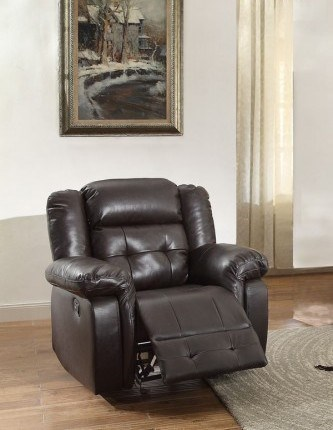 Palco Modern Dark Brown Ivory Faux Leather Glider Reclining Chairs HE-8425-1-CH-VAR