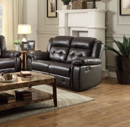 Palco Modern Dark Brown Ivory Faux Leather Double Reclining Loveseats HE-8425-2-LS-VAR