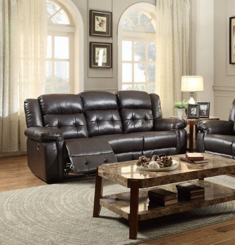 Palco Modern Dark Brown Faux Leather Double Reclining Sofa HE-8425DB-3