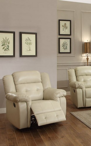 Palco Modern Ivory Faux Leather Glider Reclining Chair HE-8425VR-1