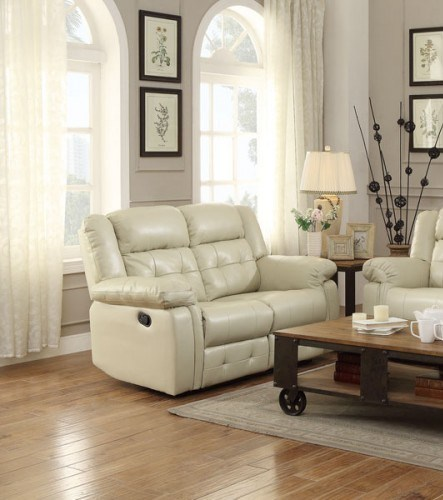 Palco Modern Ivory Faux Leather Double Reclining Loveseat