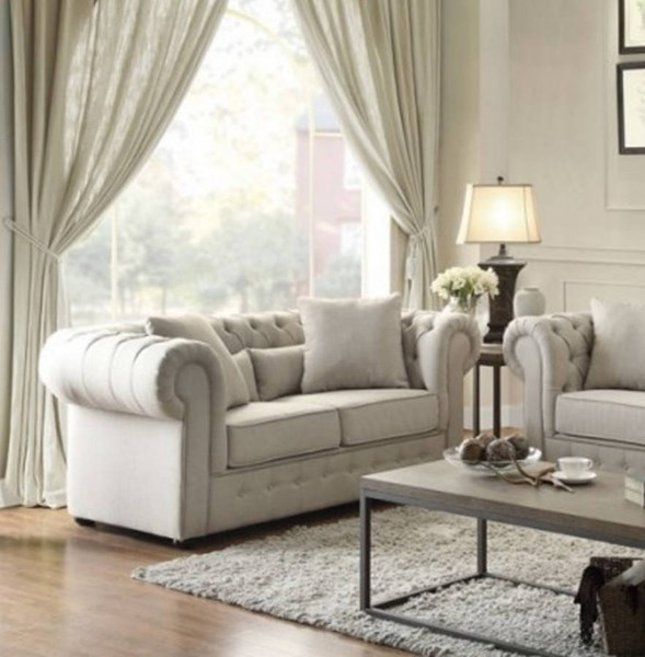 Savonburg Classic Neutral Fabric Tufted Back Loveseat HE-8427-2
