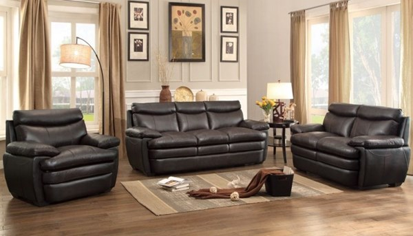 Rozel Classic Dark Brown Living Room Set HE-8428-LR