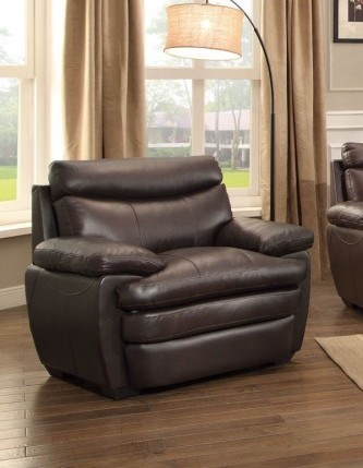 Rozel Classic Dark Brown Leather Headrest Chair HE-8428-1
