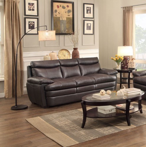 Rozel Classic Dark Brown Leather Headrest Sofa HE-8428-3