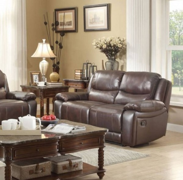 Allenwood Transitional Dark Brown Leather Double Reclining Loveseat HE-8429-2
