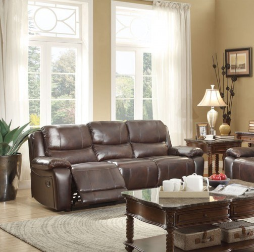 Allenwood Transitional Dark Brown Leather Double Reclining Sofa HE-8429-3
