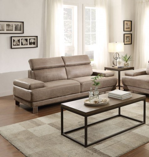 Tribune Contemporary Polyester Sofa w/Stone Color HE-8434-3