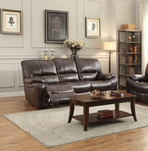 Timkin Transitional Brown Faux Leather Power Double Reclining Sofa HE-8435-3PW