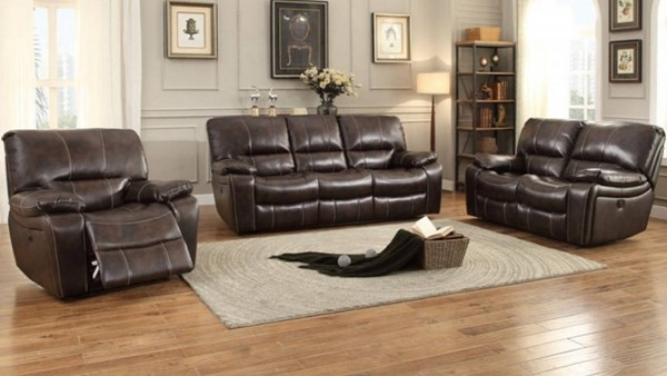 Timkin Transitional Brown Faux Leather Power Reclining Living Room Set HE-8435-PW-LR