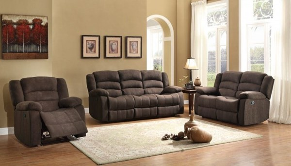 Greenville Chocolate Blue Grey Fabric 3pc Living Room Sets HE-8436-LR-S