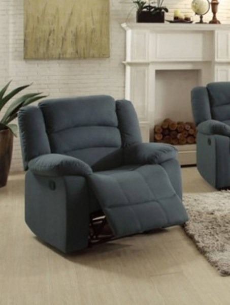 Greenville Blue Grey Fabric Reclining Chair HE-8436GY-1