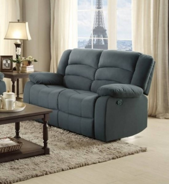 Greenville Blue Grey Fabric Double Reclining Loveseat HE-8436GY-2
