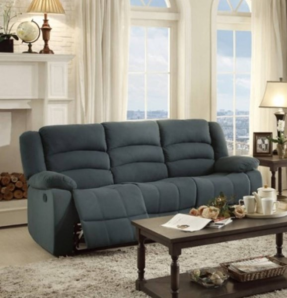 Greenville Blue Grey Fabric Double Reclining Sofa The