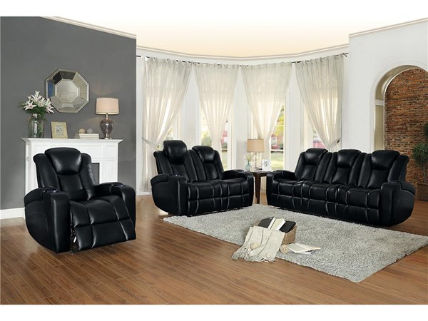 Madoc Contemporary Black Leather Power Reclining Living Room Set The Classy Home