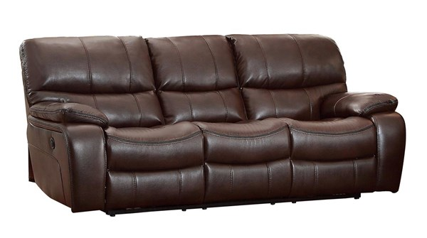 Home Elegance Pecos Dark Brown Power Double Reclining Sofa HE-8480BRW-3PW