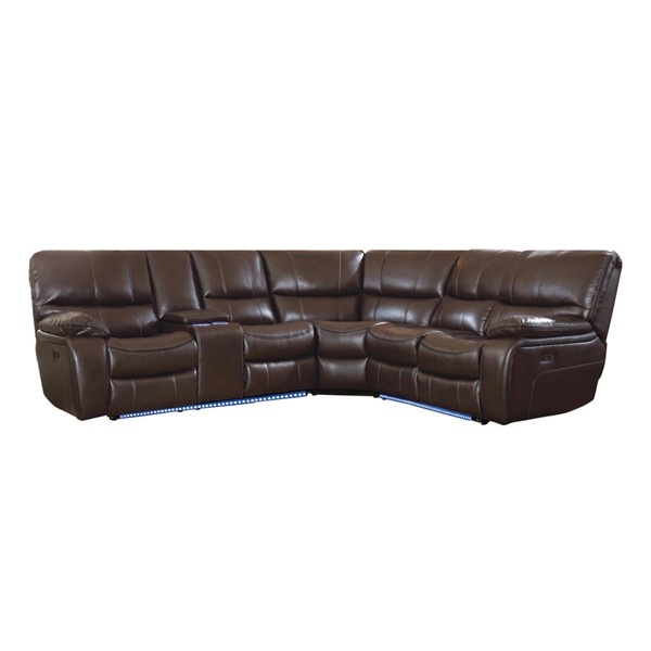 Home Elegance Pecos Dark Brown 3pc Power Sectional HE-8480BRW-3SCPD