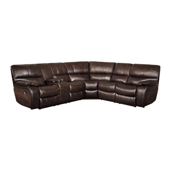 Home Elegance Pecos Dark Brown 3pc Sectional HE-8480BRW-3SC
