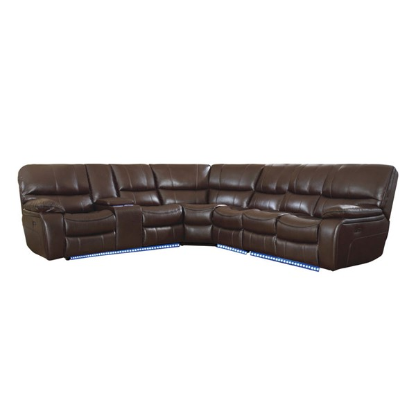 Home Elegance Pecos Dark Brown 4pc Power Sectional HE-8480BRW-4SCPD