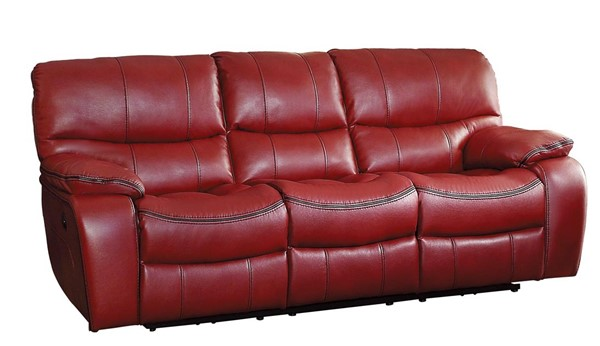 Home Elegance Pecos Red Power Double Reclining Sofa HE-8480RED-3PW