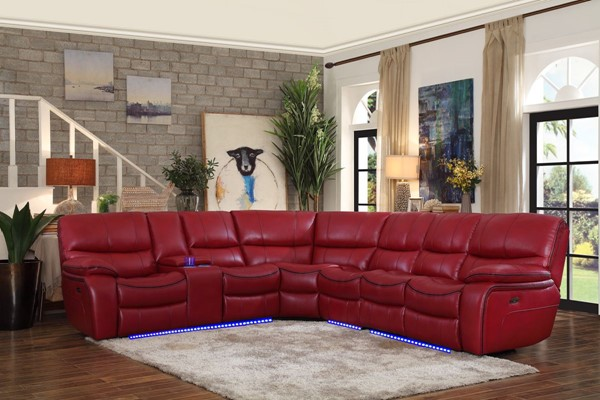 Home Elegance Pecos Red 4pc Power Sectional HE-8480RED-4SCPD