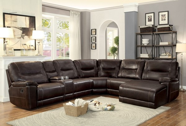 Home Elegance Columbus Brown Sectionals HE-8490-6PC-SEC-S-VAR