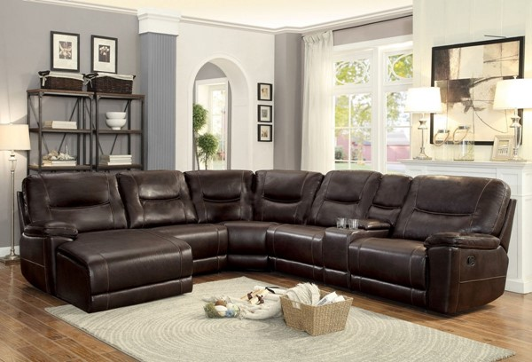 Home Elegance Columbus Dark Brown 6pc LAF Chaise Sectional HE-8490-6PC-SEC-S3
