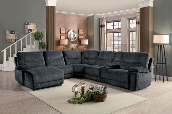 Home Elegance Columbus Cobblestone Sectional HE-8490FBR-6LCRR
