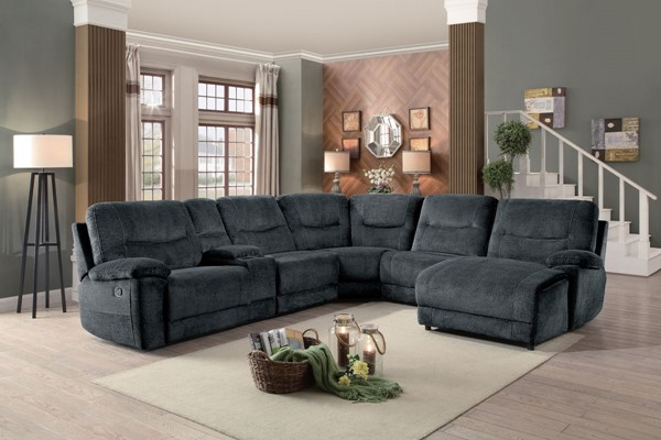 Home Elegance Columbus Cobblestone 6pc Sectional with Right Side Chaise HE-8490FBR-6LRRC