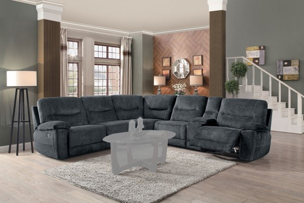 Home Elegance Columbus Cobblestone 6pc Sectional HE-8490FBR-6LRRR