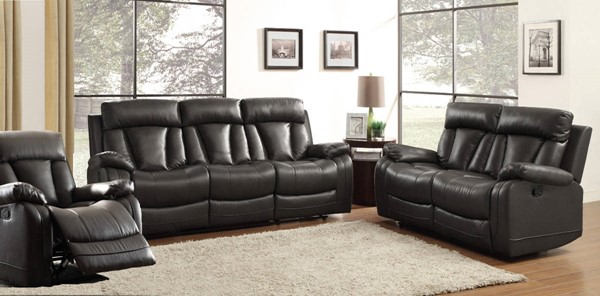 Home Elegance Ackerman Black 3pc Living Room Set HE-8500-LR-S1