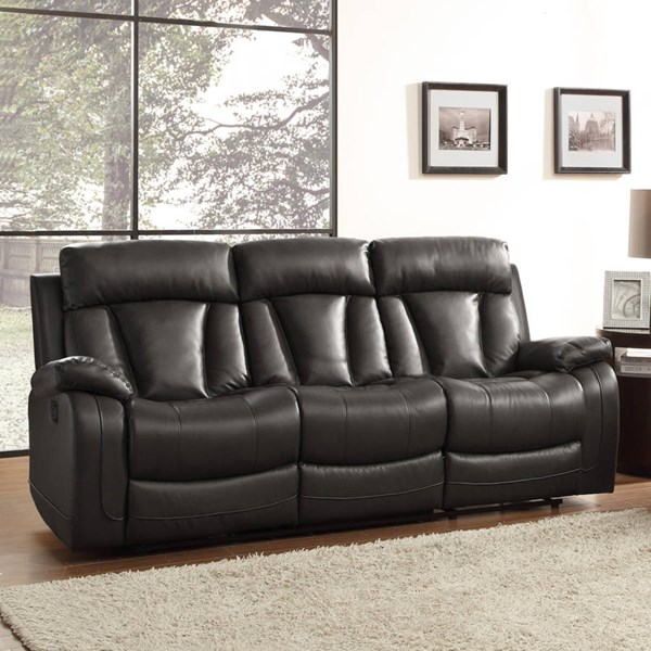 Home Elegance Ackerman Black Double Reclining Sofa HE-8500BLK-3