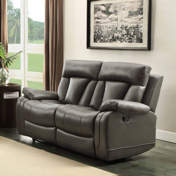 Ackerman Grey Bonded Leather Double Reclining Loveseat HE-8500GRY-2