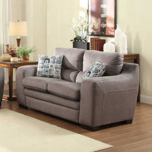 Neve Contemporary Grey Fabric Cushion Loveseat HE-8502GY-2