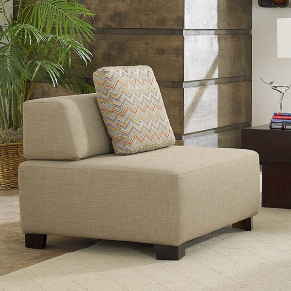 Darby Contemporary Oatmeal Fabric Chair W/pillow Back HE-8507BE-1