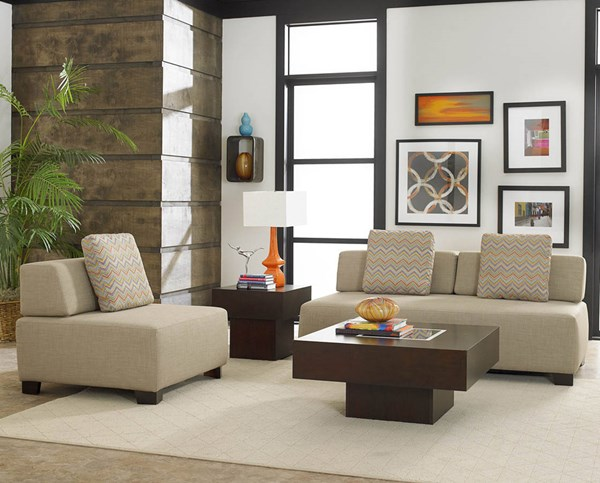 Darby Contemporary Oatmeal Fabric Living Room Set HE-8507BE-LR