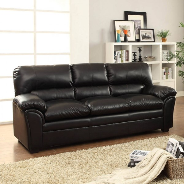 Talon Transitional Black Bonded Leather Sofa HE-8511BK-3