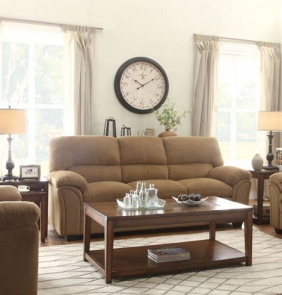 Talon Transitional Brown Fabric Bonded Leather Sofa HE-8511CN-3