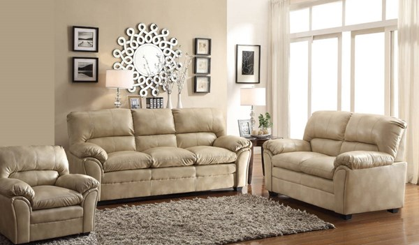 Talon Transitional Taupe Bonded Leather 3pc Living Room Set HE-8511-LR-S2
