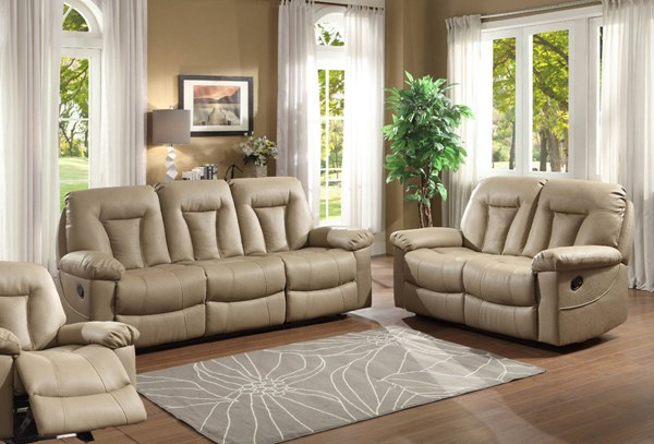 Cade Taupe Bonded Leather Living Room Set HE-8512-LR