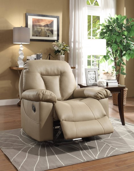 Cade Taupe Bonded Leather Glider Reclining Chair HE-8512TPE-1