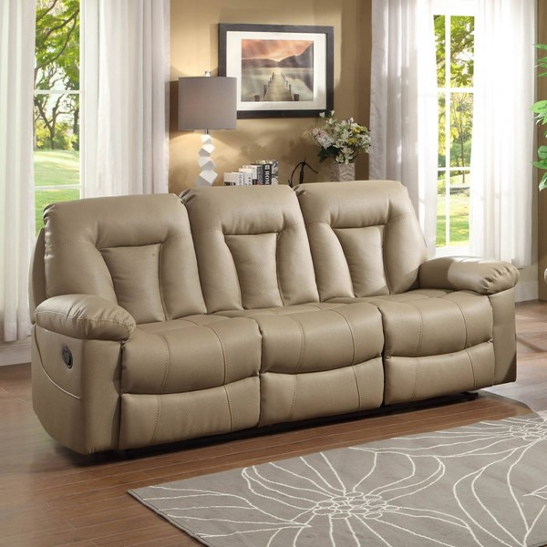 Cade Taupe Bonded Leather Double Reclining Sofa HE-8512TPE-3