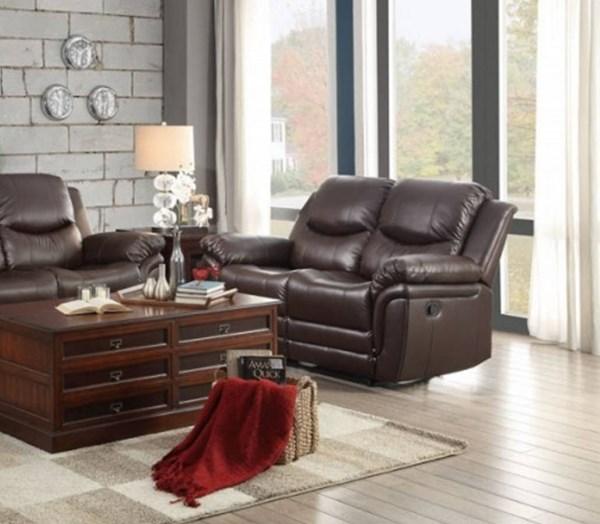 St Louis Park Dark Brown Bonded Leather Double Reclining Loveseat HE-8515BRW-2