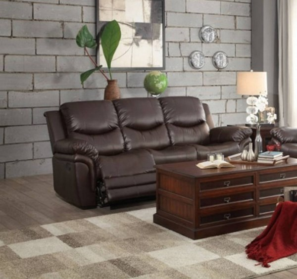 St Louis Park Dark Brown Bonded Leather Double Reclining Sofa HE-8515BRW-3