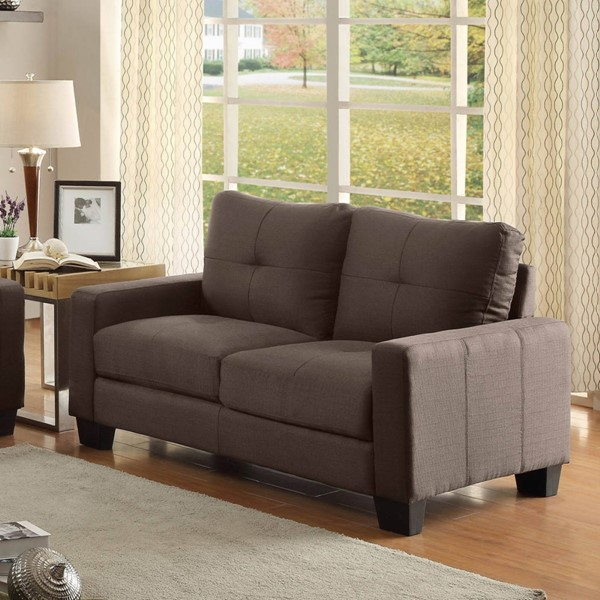 Ramsey Modern Grey Polyester Love Seat W/Tufted Seat HE-8518-2