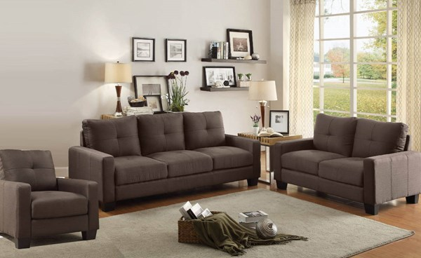 Ramsey Modern Grey Polyester 3pc Living Room Set HE-8518-LR-S1