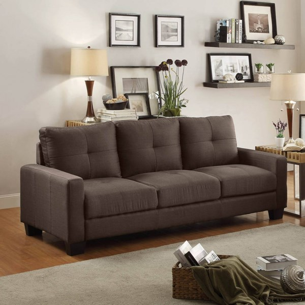 Ramsey Modern Grey Polyester Sofa W/Tufted Seat HE-8518-3