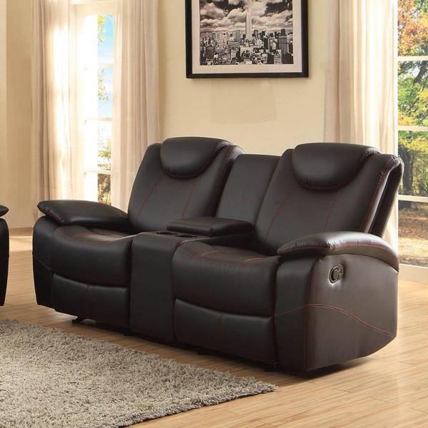 Talbot Black Bonded Leather Double Glider Reclining Loveseat w/Console HE-8524BK-2