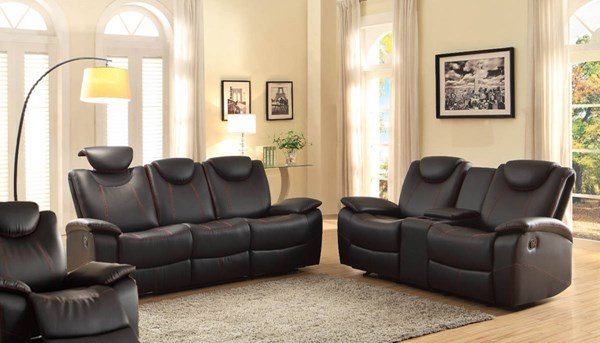 Talbot Contemporary Black Bonded Leather 3pc Living Room Set HE-8524-LR-S1